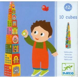10 CUBES VEHICULES Djeco