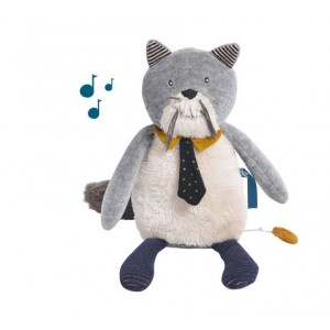 PELUCHE MUSICAL CHAT LES MOUSTACHES Moulin roty